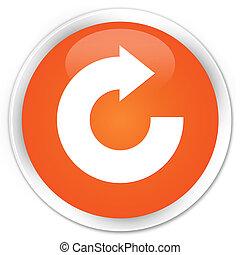 Reply arrow icon premium orange round button