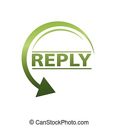 reply icon - reply word with circular arrow, icon design,...