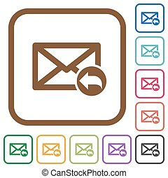 Reply mail simple icons in color rounded square frames on...