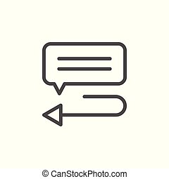 Reply message line icon isolated on white. Vector...