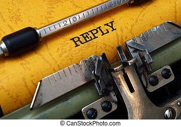 Reply on typewriter