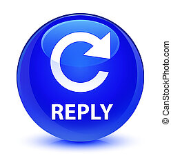 Reply (rotate arrow icon) glassy blue round button