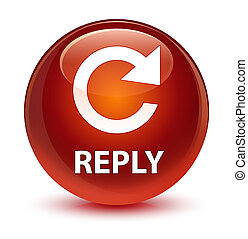 Reply (rotate arrow icon) glassy brown round button