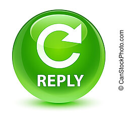 Reply (rotate arrow icon) glassy green round button