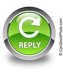 Reply (rotate arrow icon) glossy green round button