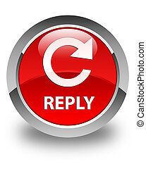 Reply (rotate arrow icon) glossy red round button