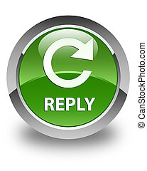 Reply (rotate arrow icon) glossy soft green round button