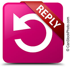 Reply (rotate arrow icon) pink square button red ribbon in corner