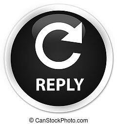 Reply (rotate arrow icon) premium black round button