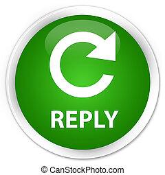Reply (rotate arrow icon) premium green round button
