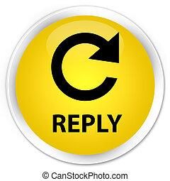 Reply (rotate arrow icon) premium yellow round button