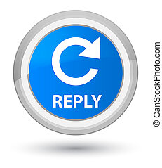 Reply (rotate arrow icon) prime cyan blue round button