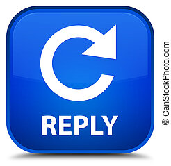 Reply (rotate arrow icon) special blue square button
