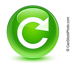 Reply rotate icon glassy green round button