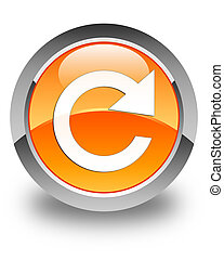Reply rotate icon glossy orange round button
