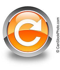 Reply rotate icon glossy orange round button