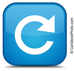 Reply rotate icon special cyan blue square button