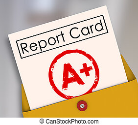 Report Card A+ Plus Top Grade Rating Review Evaluation Score...