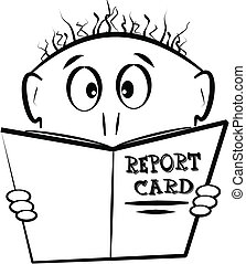 report card - young lad looking at report card before...