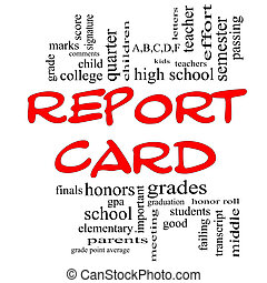Report Card Word Cloud Concept in Red Caps