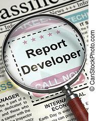 Report Developer Wanted. 3D.