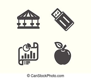Report document, Carousels and Usb flash icons. Apple sign. Growth chart, Attraction park, Memory stick. Fruit. Vector