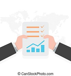 Report file in the hands. Vector illustration.