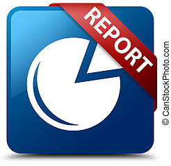 Report (graph icon) blue square button red ribbon in corner