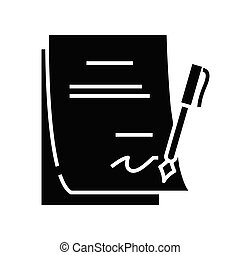 Report signature black icon, concept illustration, vector flat symbol, glyph sign.