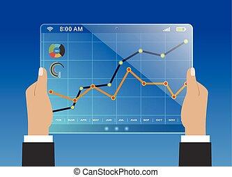 Report statistics concept - Comparing statistics in...
