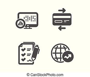 Report statistics, Credit card and Survey checklist icons. World statistics sign. Vector