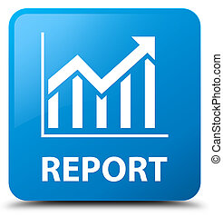 Report (statistics icon) cyan blue square button