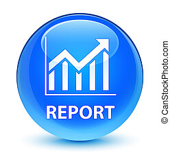 Report (statistics icon) glassy cyan blue round button