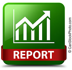 Report (statistics icon) green square button red ribbon in middle