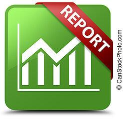 Report (statistics icon) soft green square button red ribbon in corner