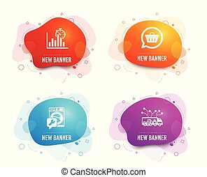 Report timer, Shopping cart and Washing machine icons. Truck delivery sign. Vector
