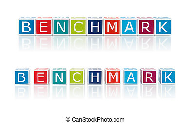 Report Topics With Color Blocks. Benchmark. Clipping path...