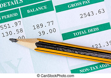 Report with monthly wage - Pencil with the statement of...