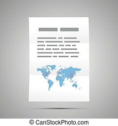 Report with world map, A4 size document icon with shadow on gray