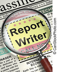 Report Writer Job Vacancy. 3D.