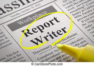 Report Writer Vacancy in Newspaper.