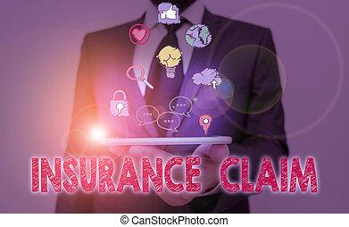 reportage, écriture main, photo, showcasing, projection, assurance, conceptuel, perte, couvert, event., politique, compensation, ou, claim., business