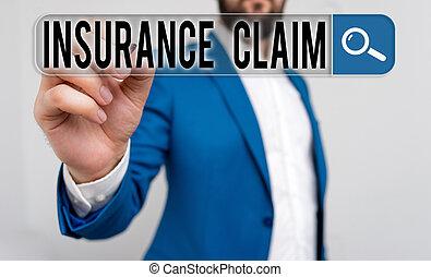 reportage, écriture, texte, assurance, perte, couvert, event., concept, politique, signification, compensation, ou, claim., écriture