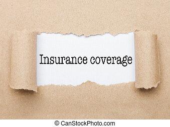 reportage, apparaître, derrière, papier, texte, assurance