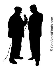 Reporter asking a question to a businessman