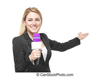Reporter - Attractive blonde TV presenter holding a...