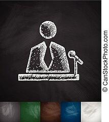 reporter icon. Hand drawn Chalkboard Design