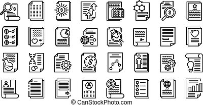 Reporter icons set, outline style - Reporter icons set. ...