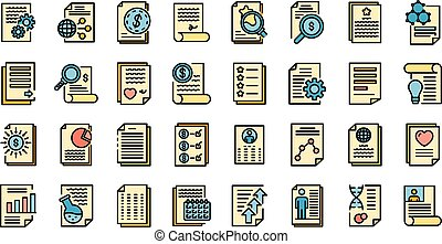 Reporter icons set vector flat - Reporter icons set. Outline...