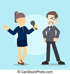 reporter interviewing rich businessman